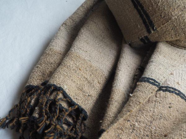 手紡ぎ緑綿のストール